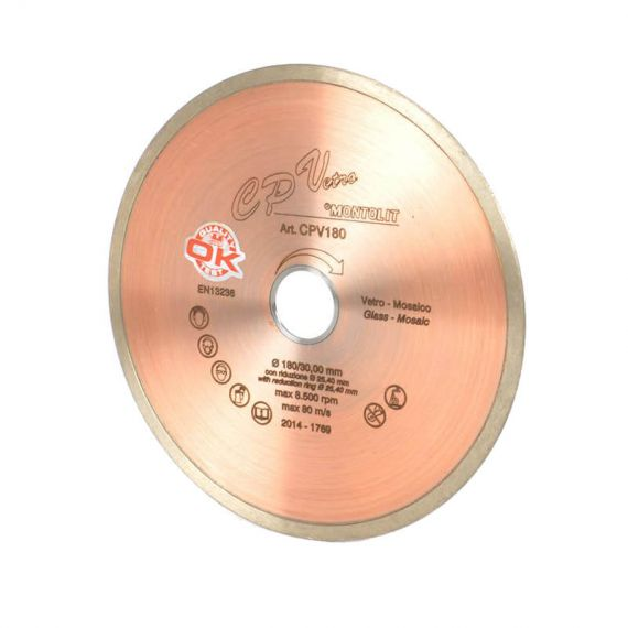 Montolit 7in Glass Tile Continuous Rim Diamond Blade Wet Cut