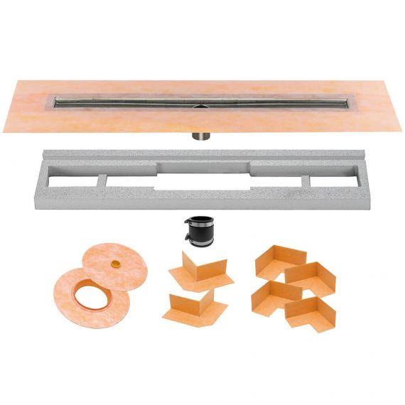 Schluter 24in Kerdi Line Channel Body Stainless Steel Center Outlet