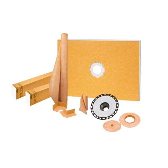 "Schluter KERDI-SHOWER-KIT-FL 38"" x 60"" ABS Flange 2"" Center Outlet"