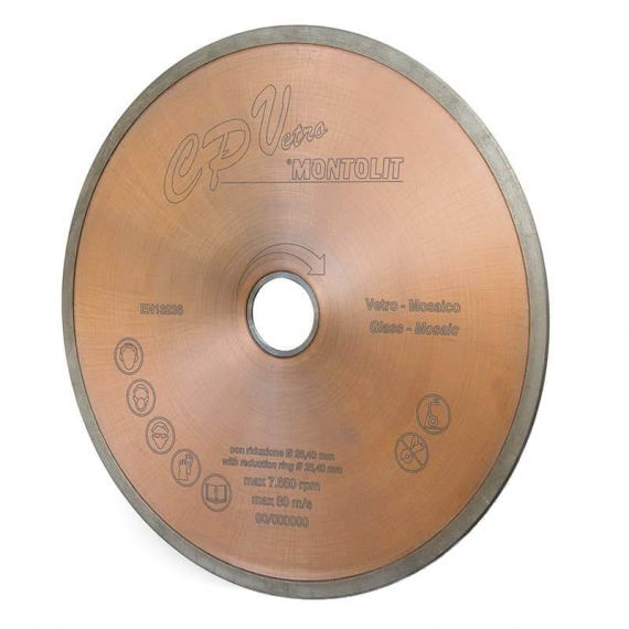 Montolit 10in Glass Tile Continuous Rim Diamond Blade Wet Cut