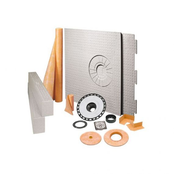 "Schluter KERDI-SHOWER-KIT 32"" X 60"" OFFSET ABS STAINLESS STEEL DRAIN INCLUDED"