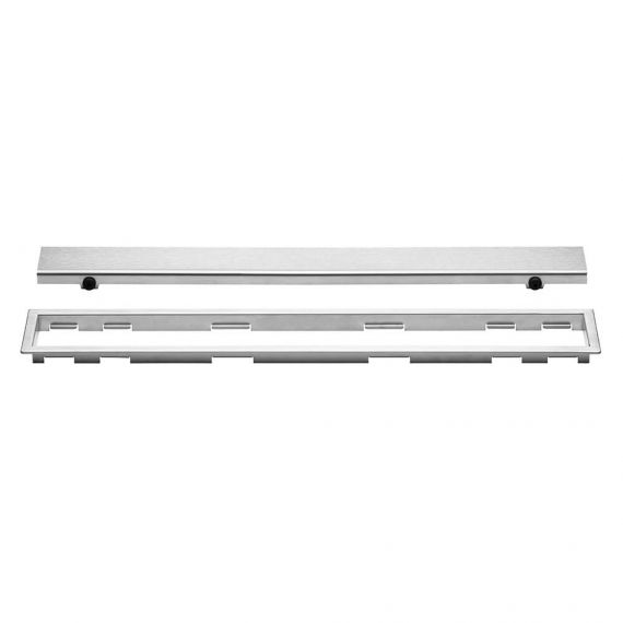 Schluter 20in Kerdi Line Closed Brushed Stainless Steel Grate