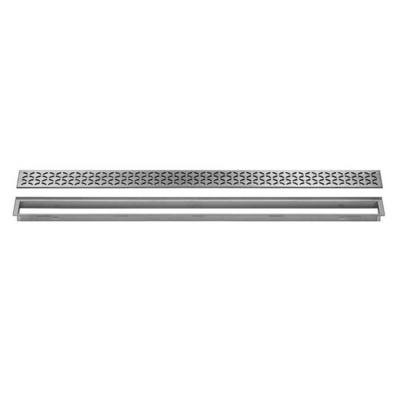 Schluter 20in Kerdi Line Brushed Stainless Steel Grate - Floral Design
