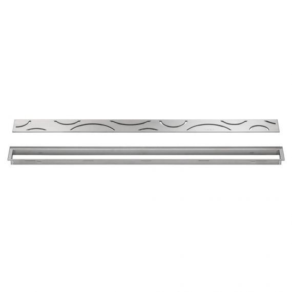 Schluter 20in Kerdi Line Brushed Stainless Steel Grate - Curve Design