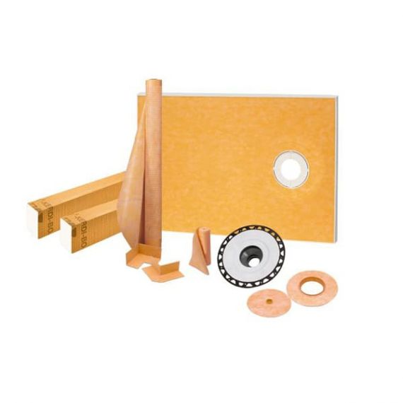 "Schluter KERDI-SHOWER-KIT-FL 38"" x 60"" ABS Flange 2"" Offset Outlet"
