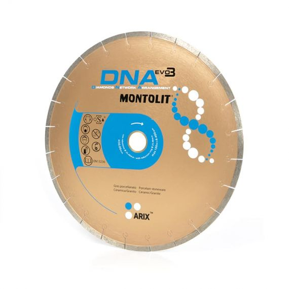 Montolit 7in DNA Diamond Blade with Braze Welded segments Wet Cut